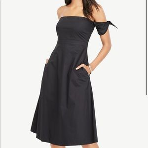 Ann Taylor Off The Shoulder Tie Sleeve Flare Dress